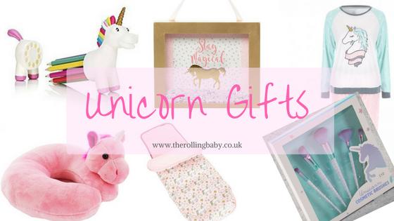 Unicorn pencil holder, photo, pyjamas, neck cushion, make up brushes and foot cosy