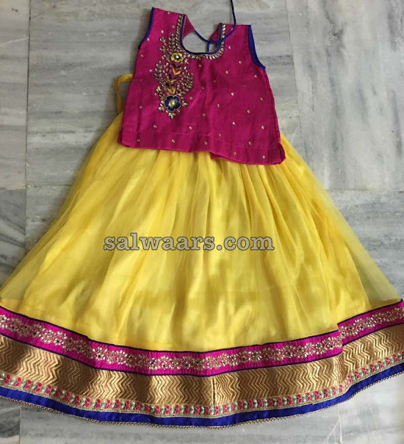 Yellow and Maroon Kids Lehenga
