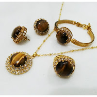 Jual Set Perhiasan Batu Tiger Eye