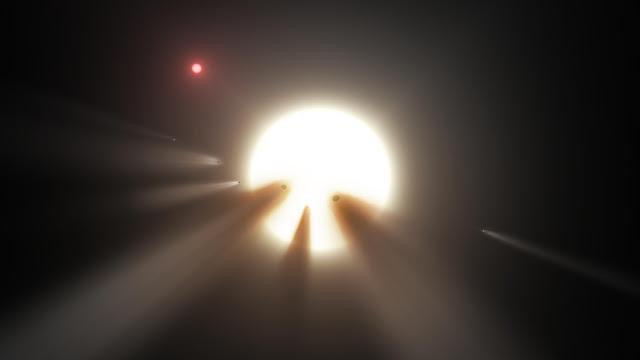 Hình mô phỏng dày đặc sao chổi vây xung quanh ngôi sao KIC 8462852, hay còn gọi là ngôi sao Tabby, một giả thuyết giải thích về sự suy giảm độ sáng bất thường của nó. Hình ảnh: NASA/JPL-Caltech.