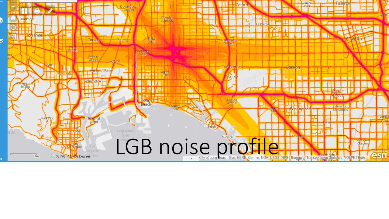 long beach airport at the center of this portion of the national noise map