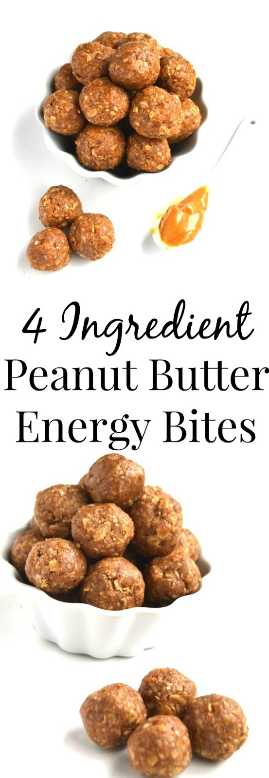 4 Ingredient Peanut Butter Energy Bites are easy to make with ingredients that you have on hand. They are rich in protein and make a perfect healthy snack. www.nutritionistreviews.com