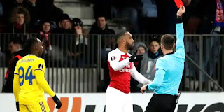 lacazette red card for elbowing belarus