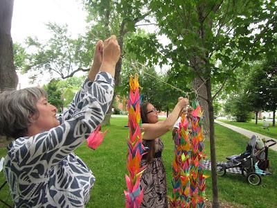 Hiroshima Day Kingston Peace Lantern Ceremony hanging paper cranes