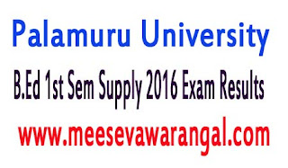 Palamuru University B.Ed 1st Sem Supply 2016 Exam Results