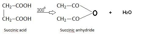 Succinic acid action of heat.
