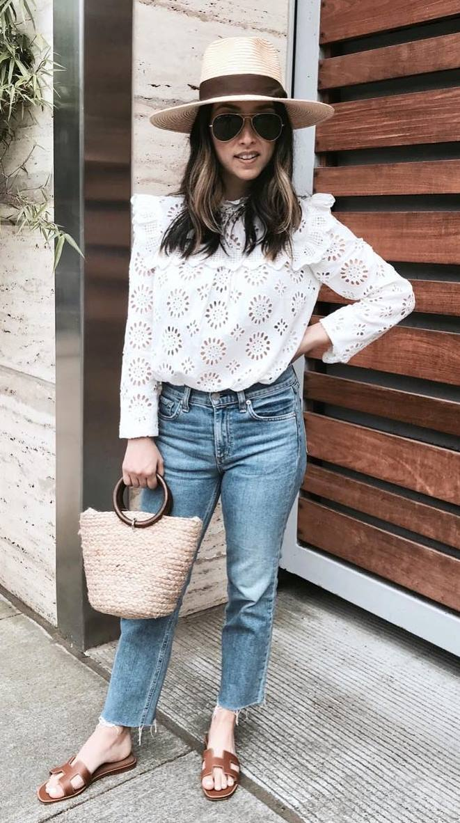 summer casual outfit / hat + white top + jeans + bag + slides
