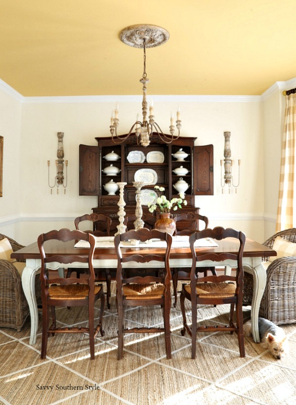 antique French dining chairs with rush seats move from breakfast room to dining room