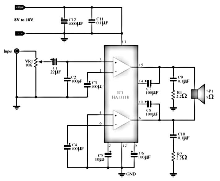IC Amplifier with HA13118 Diagram ~ Schematic diagram circuit