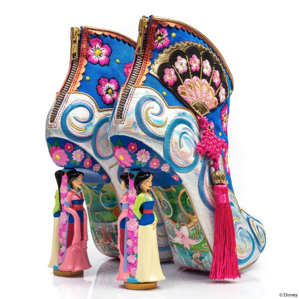 back view of ankle boots with spinning Mulan character heels