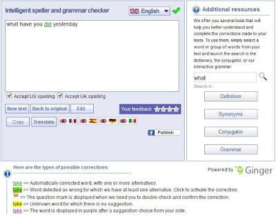 Hasil dari Grammar Checker