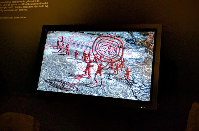 Animated visualization of the Neolithic Carvings in Norrköping, Sweden at the Norrköping Stadsmuseum