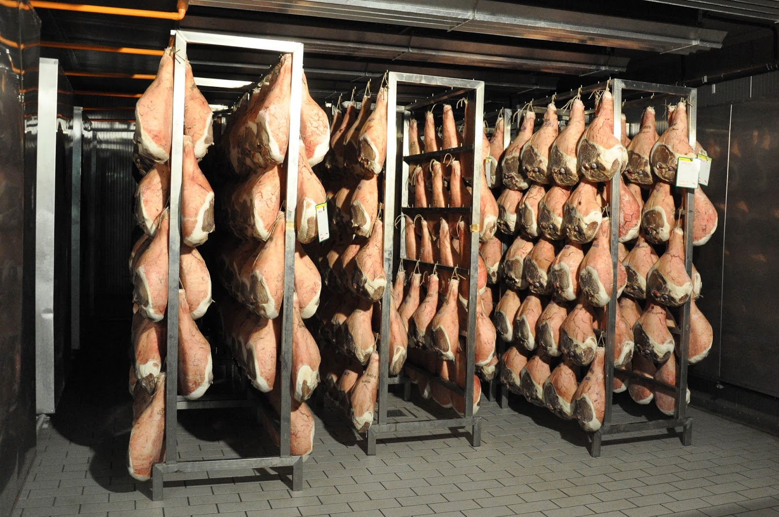 Prosciutto hanging for three months in the cold cell