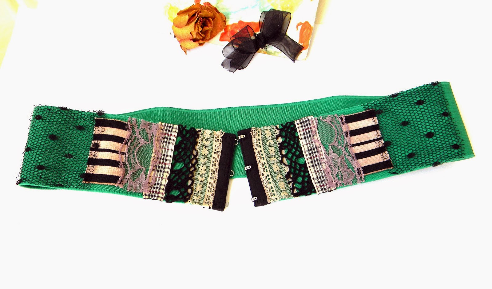 Handmade Stretch Waist Belt Bodice with Textile Collage Applique