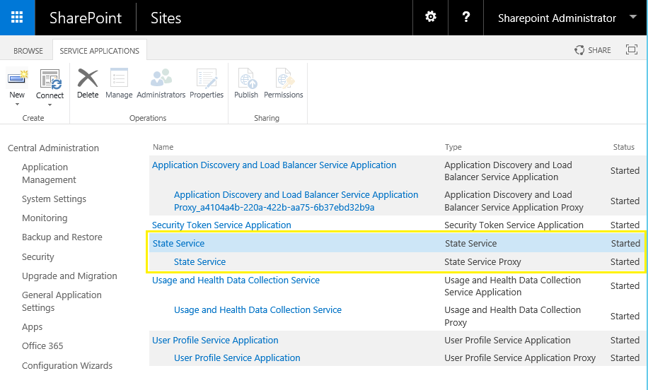 create state service application sharepoint 2016