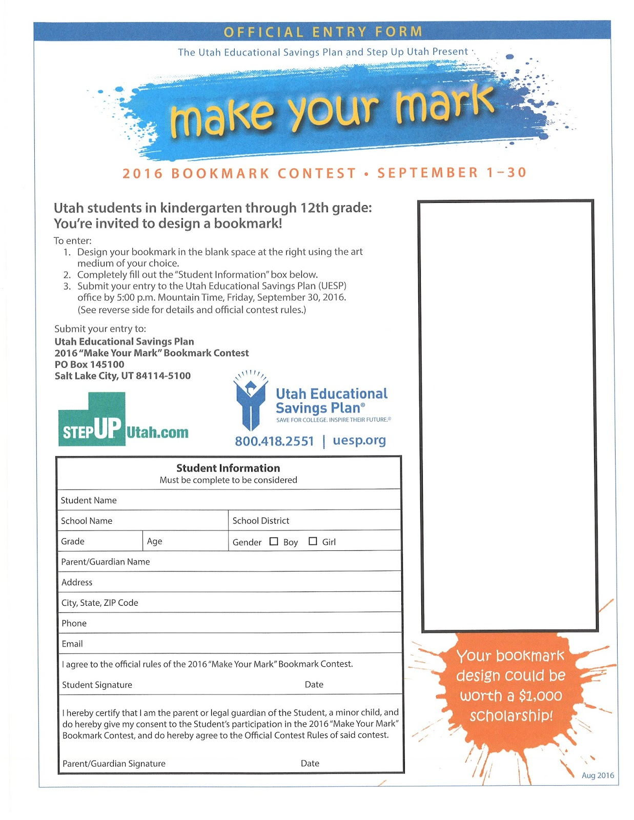 McKinley Elementary Cougars: Design A Bookmark Contest