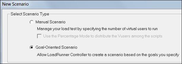 LoadRunner - Goal-Oriented Scenario - Choose option
