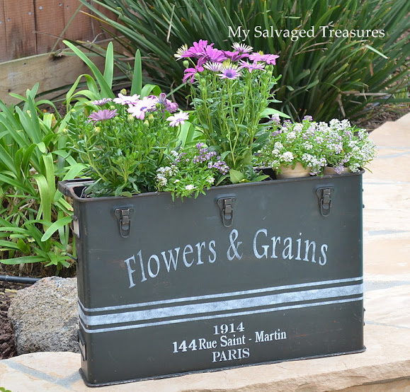 use a vintage ammunition case as a garden planter