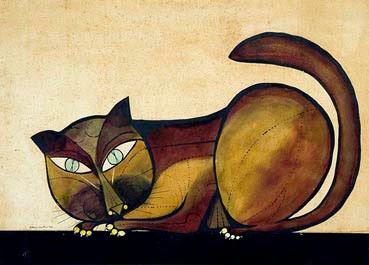 Gato Madeira - Aldemir Martins e suas pinturas ~ O pintor de gatos