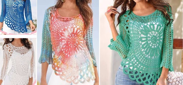 crochet blouse with graphic