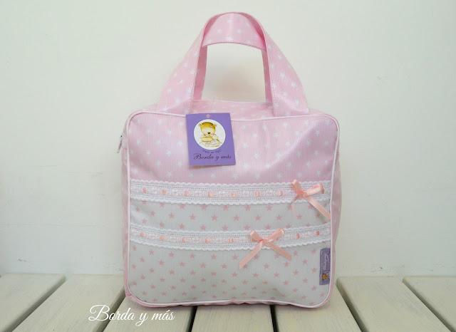 bolsa merienda bebé estrellas rosa blanco