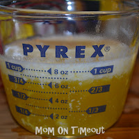 melted butter in Pyrex measuring cup