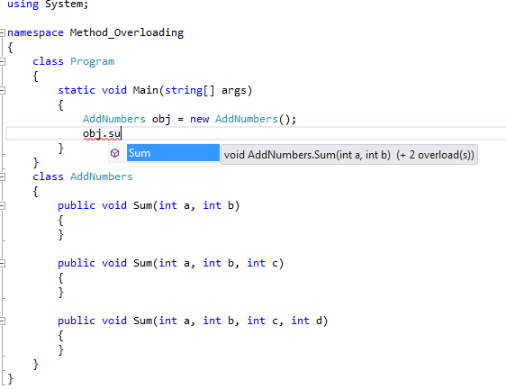 Advantages of method Overloading in C#.Net