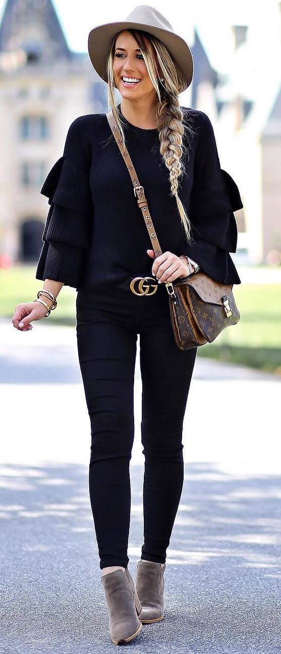 black and nude fall trends / hat + sweater + bag + skinnies + boots