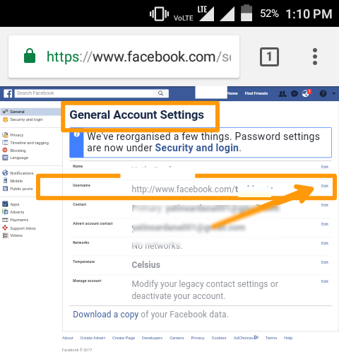 how to find facebook username in app