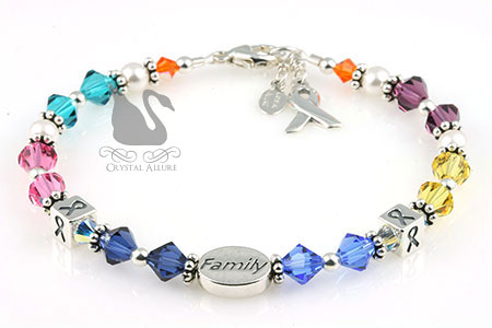 Joann's Custom Family Multi-Cancer Awareness Bracelet (BA219-F)
