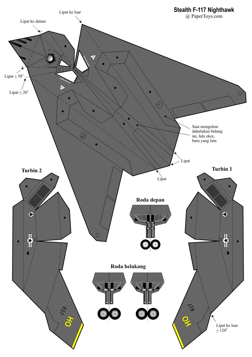 Cara Membuat Pesawat Kertas Yang Bisa Terbang Super Jauh: Membuat Model Pesawat Stealth F-117 Nighthawk