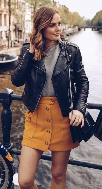 ootd | mini skirt + bag + black leather jacket + top