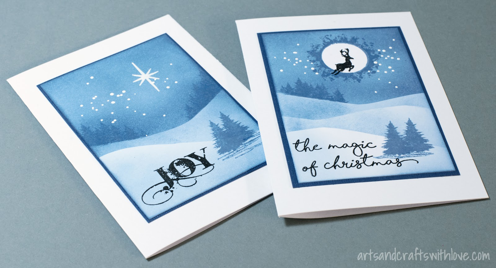 Elinas arts and crafts simple and easy christmas cards for these simple designs you dont need too many supplies for colouring and stamping the backgrounds i only used one blue distress ink colour faded m4hsunfo