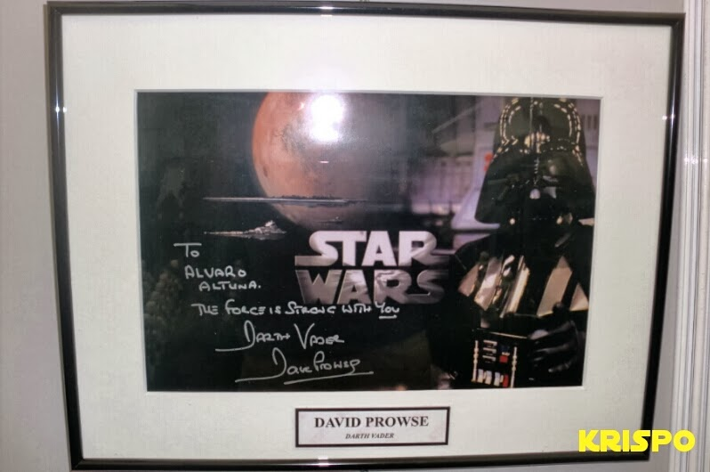 autografo de darth vader star wars en foto