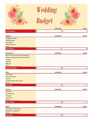 Wedding Budget Planner  floral microsoft  excel