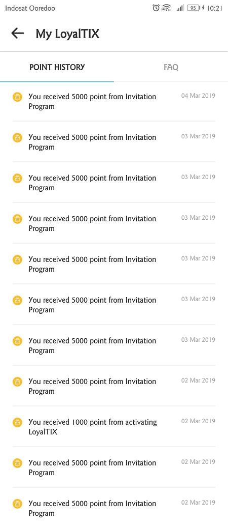 untuk setiap orang yang berhasil diajak instal tix id, kamu mendapatkan 5000 poin loyaltix