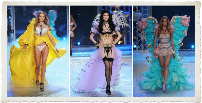 le modelle Toni Garn, Sui He ,Bregie Heinen nella sfilata in lingerie del Victoria'a Secret Fashion Show 2012