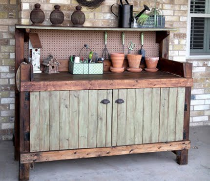 Old Cabinet Turned Into A Potting Bench