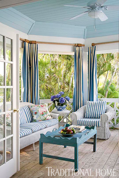 Coastal Porch with White Wicker Furniture Set