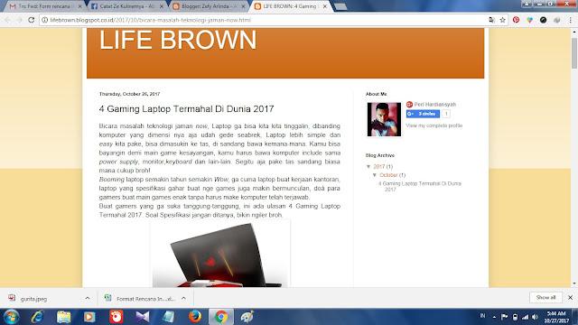 postingan pertama life brown