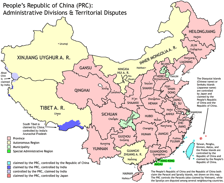 Admimistrative divisions and territorial disputes of China