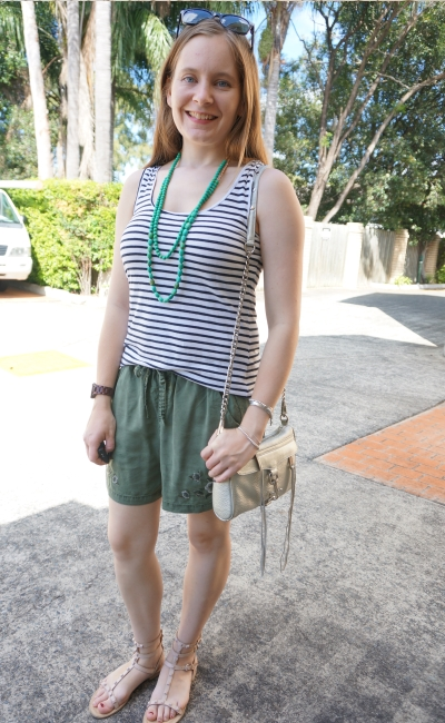 striped tank with olive embroidered jeanswest tessa shorts, studded Rebecca Minkoff sandals and mini MAC | awayfromblue