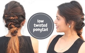 Low Twisted Ponytail For Medium To Long Hair | Indian Festive Hairstyle