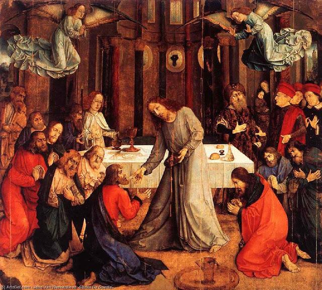 Última Ceia, Instituição da Eucaristia, Giusto da Guanto, c. 1474.
