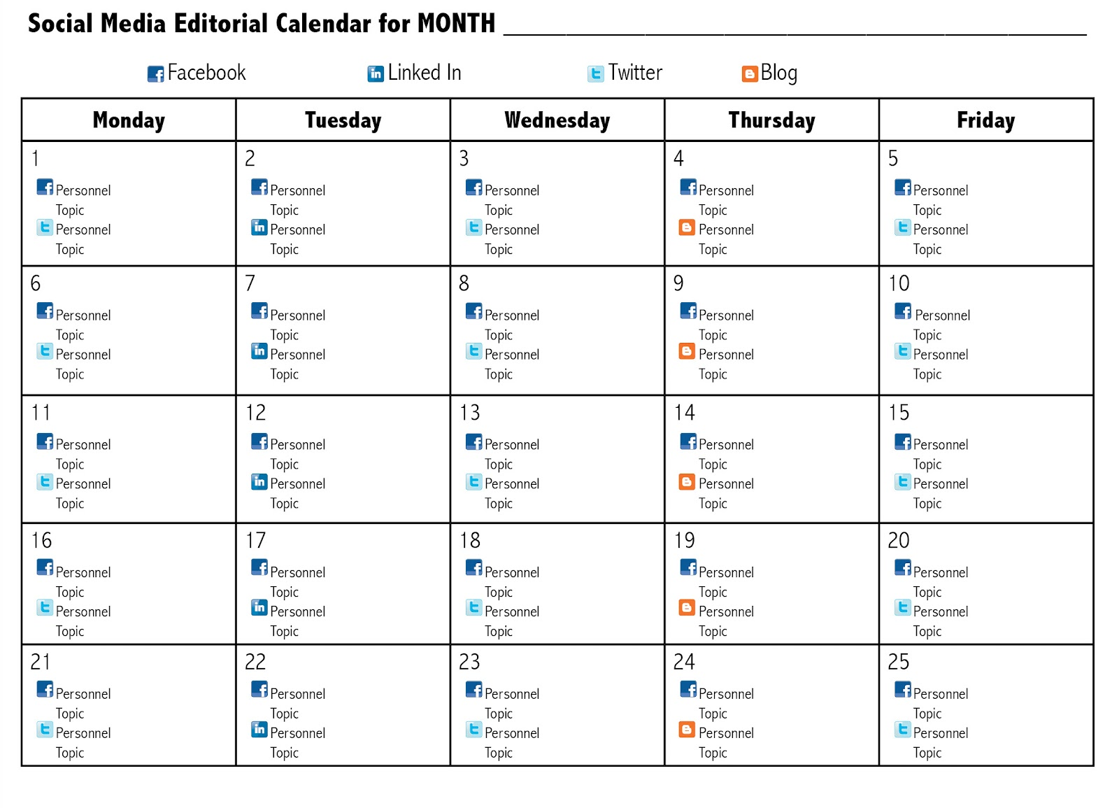 Below Is A Sample Social Media Editorial Calendar You Can Adapt This To Your Needs Marketing Or An Excel Spreadsheet Would Be Great Tool