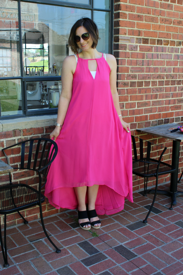 pink maxi dress, espadrille wedges, pretty in pink