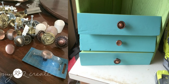 adding knobs to faux drawer fronts