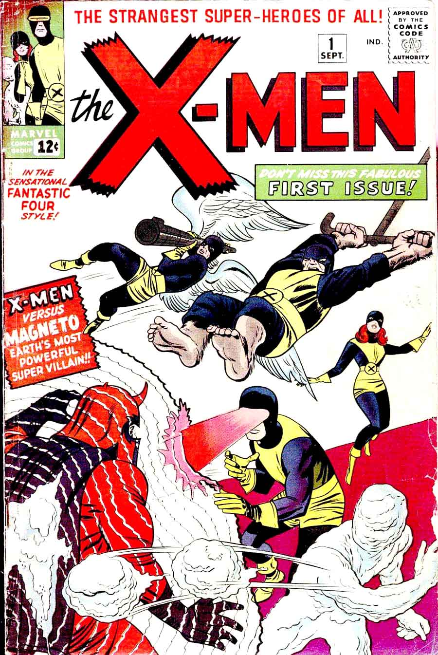 X-men v1 #1 1963 marvel comic book cover art by Jack Kirby