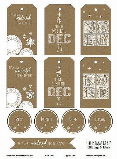 vintage inspired brown and white printable Christmas gift tags for free