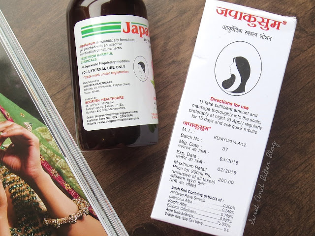 Japakusum Ayurvedic Scalp Lotion Ingredients